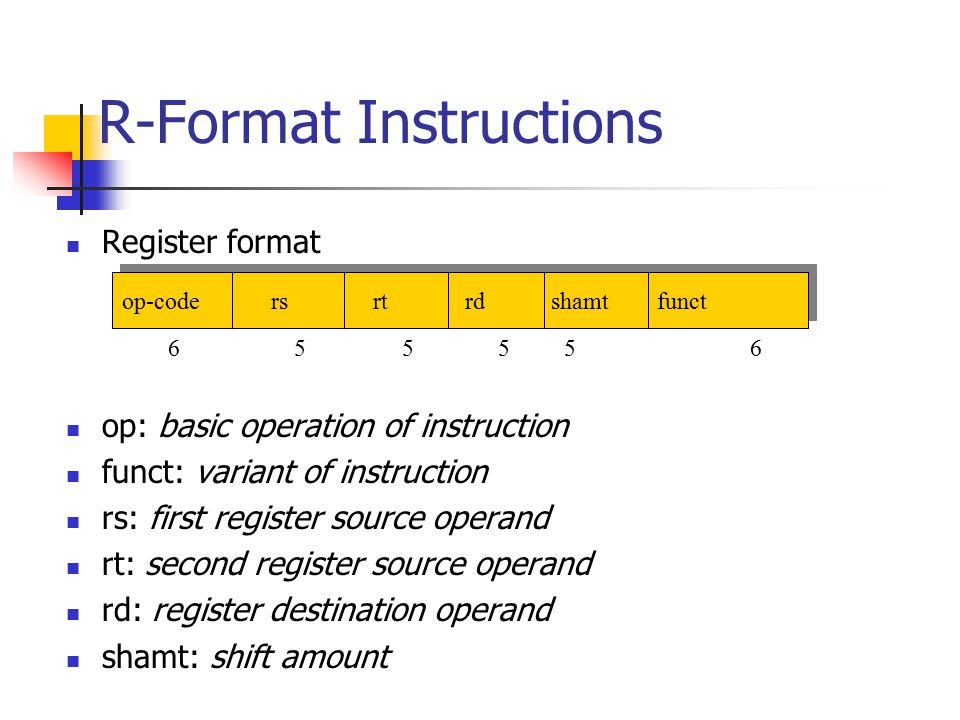R-Format Instructions Register format op: basic operation of instruction funct: variant of instruction rs: first register source operand rt: second register source operand rd: register destination operand shamt: shift amount op-code rs rt rd shamt funct