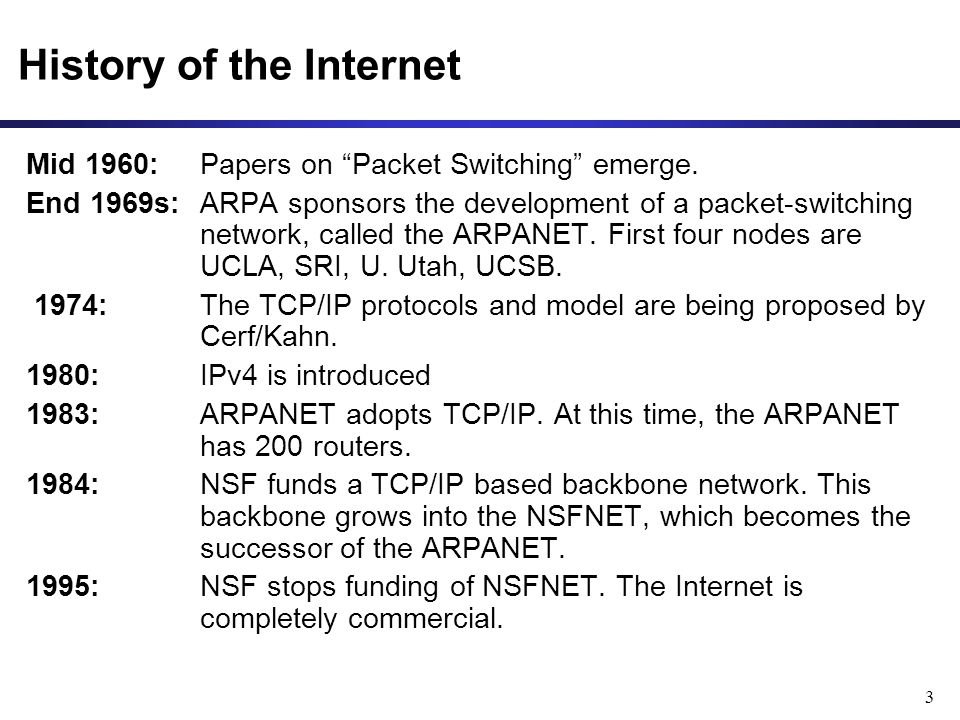 3 History of the Internet Mid 1960: Papers on Packet Switching emerge.