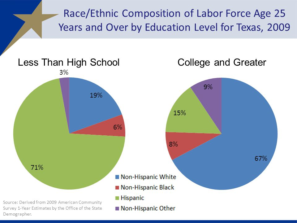 Race/Ethnic Composition of Labor Force Age 25 Years and Over by Education Level for Texas, 2009 Source: Derived from 2009 American Community Survey 1-Year Estimates by the Office of the State Demographer.