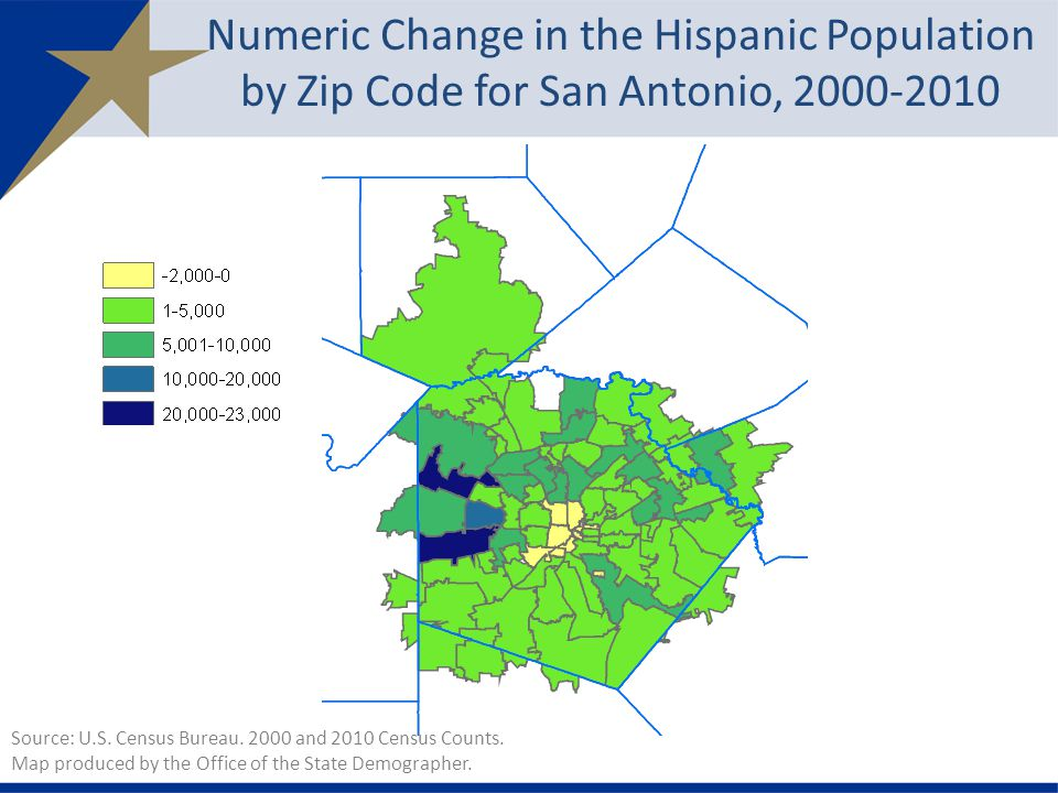 Numeric Change in the Hispanic Population by Zip Code for San Antonio, Source: U.S.