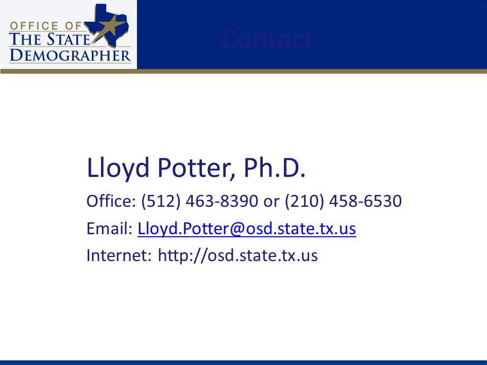 Contact Lloyd Potter, Ph.D.