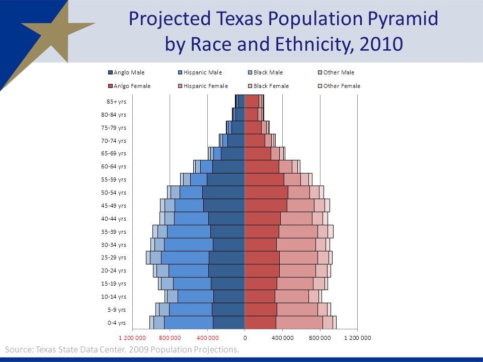 Projected Texas Population Pyramid by Race and Ethnicity, 2010 Source: Texas State Data Center.
