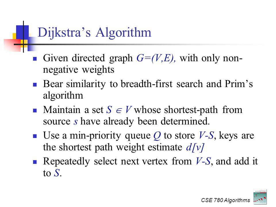 CSE 780 Algorithms Advanced Algorithms SSSP Dijkstra's algorithm