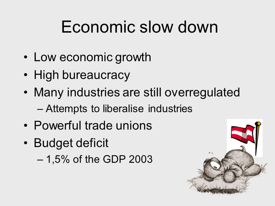 Economic slow down Low economic growth High bureaucracy Many industries are still overregulated –Attempts to liberalise industries Powerful trade unions Budget deficit –1,5% of the GDP 2003