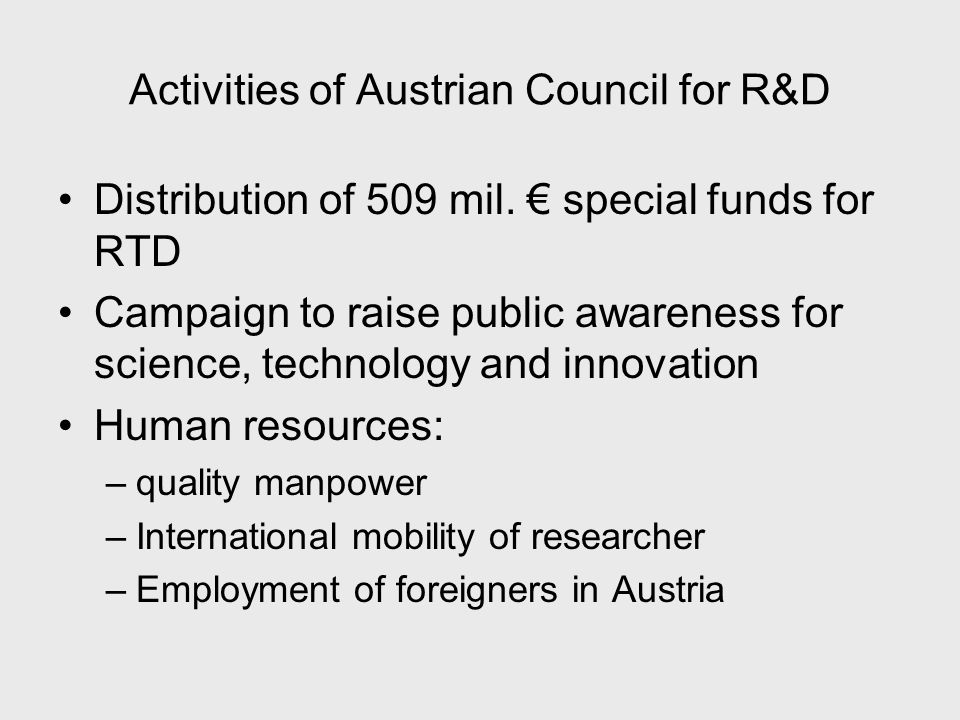Activities of Austrian Council for R&D Distribution of 509 mil.