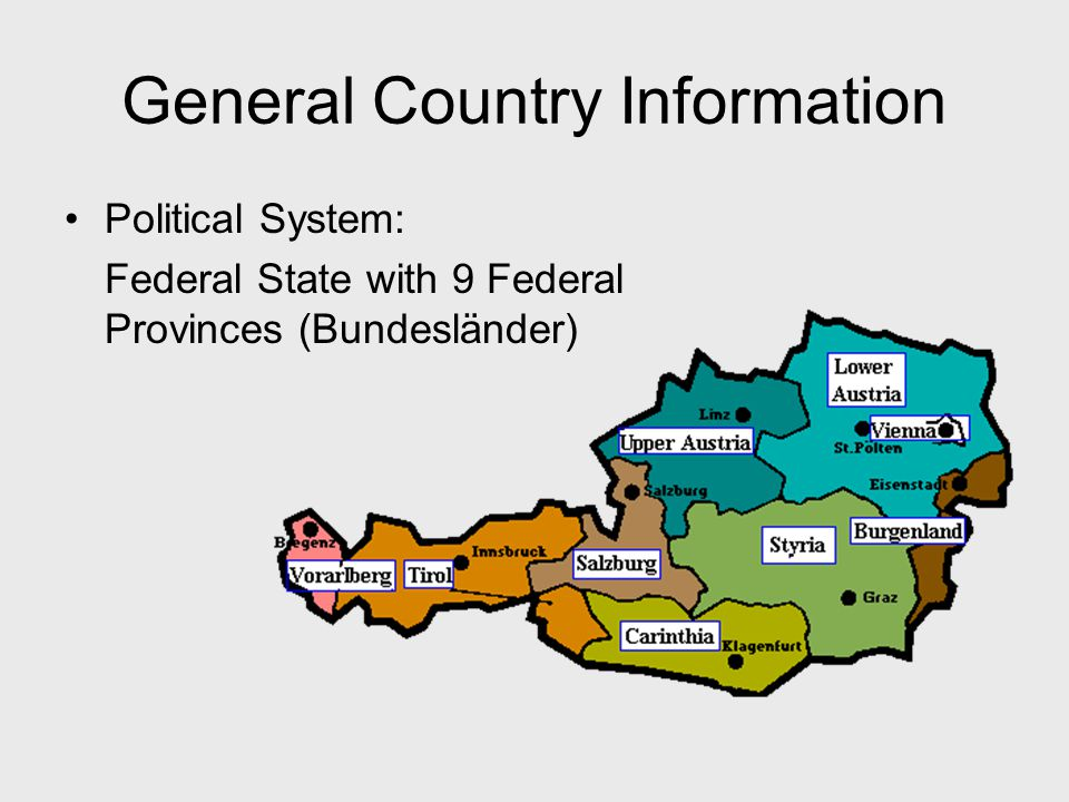 General Country Information Political System: Federal State with 9 Federal Provinces (Bundesländer)