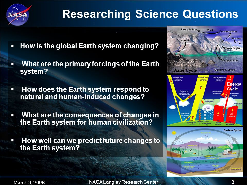 3 March 3, 2008 NASA Langley Research Center Researching Science Questions  How is the global Earth system changing.