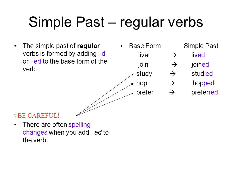 Simple Past – regular verbs The simple past of regular verbs is formed by adding –d or –ed to the base form of the verb.