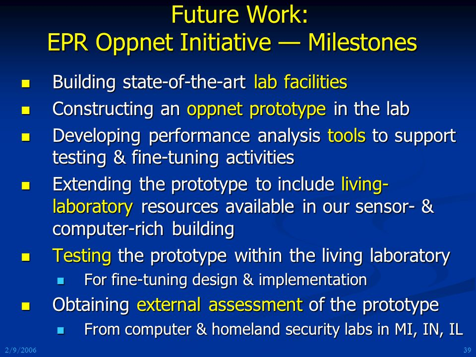 2/9/2006 Future Work: EPR Oppnet Initiative — Milestones Future Work: EPR Oppnet Initiative — Milestones Building state-of-the-art lab facilities Building state-of-the-art lab facilities Constructing an oppnet prototype in the lab Constructing an oppnet prototype in the lab Developing performance analysis tools to support testing & fine-tuning activities Developing performance analysis tools to support testing & fine-tuning activities Extending the prototype to include living- laboratory resources available in our sensor- & computer-rich building Extending the prototype to include living- laboratory resources available in our sensor- & computer-rich building Testing the prototype within the living laboratory Testing the prototype within the living laboratory For fine-tuning design & implementation For fine-tuning design & implementation Obtaining external assessment of the prototype Obtaining external assessment of the prototype From computer & homeland security labs in MI, IN, IL From computer & homeland security labs in MI, IN, IL 39