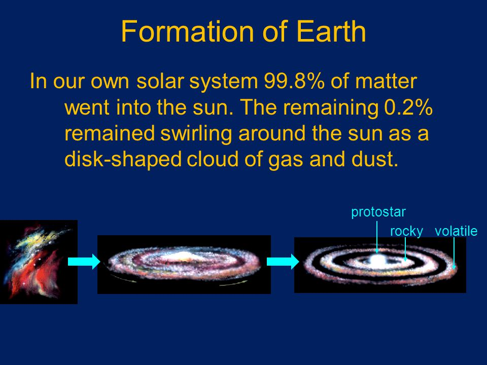 Formation of Earth In our own solar system 99.8% of matter went into the sun.