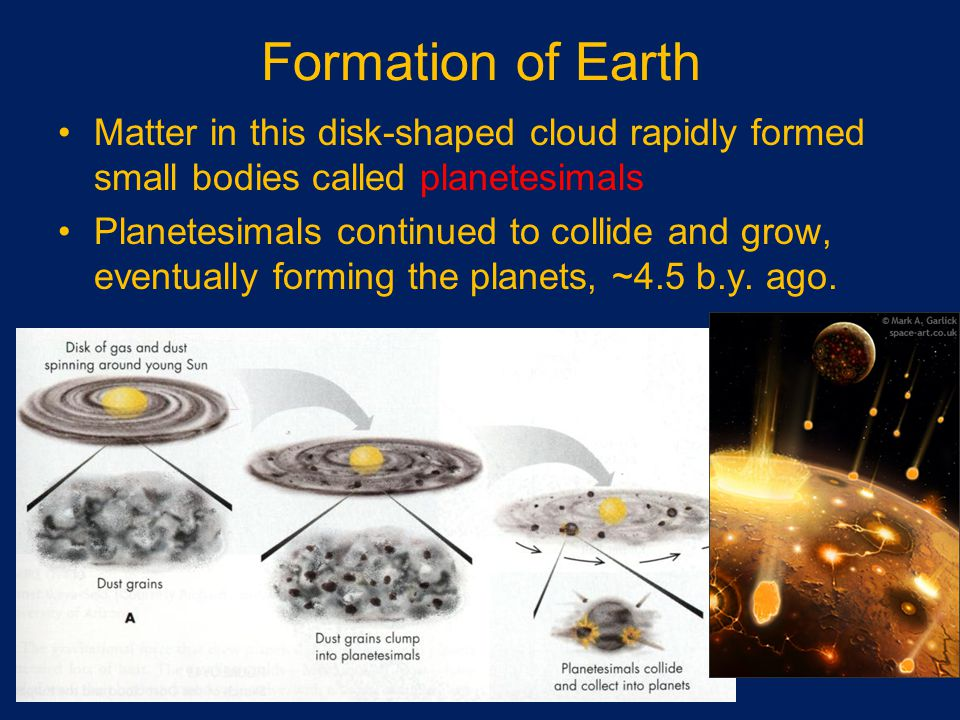 Formation of Earth Matter in this disk-shaped cloud rapidly formed small bodies called planetesimals Planetesimals continued to collide and grow, eventually forming the planets, ~4.5 b.y.