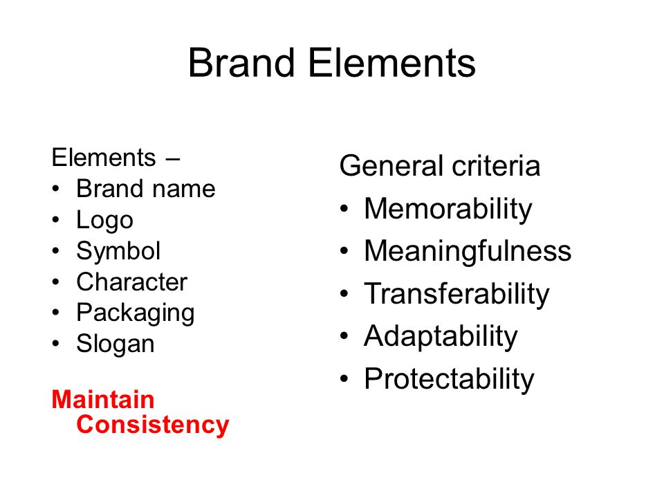 Brand Elements Elements – Brand name Logo Symbol Character Packaging Slogan Maintain Consistency General criteria Memorability Meaningfulness Transferability Adaptability Protectability