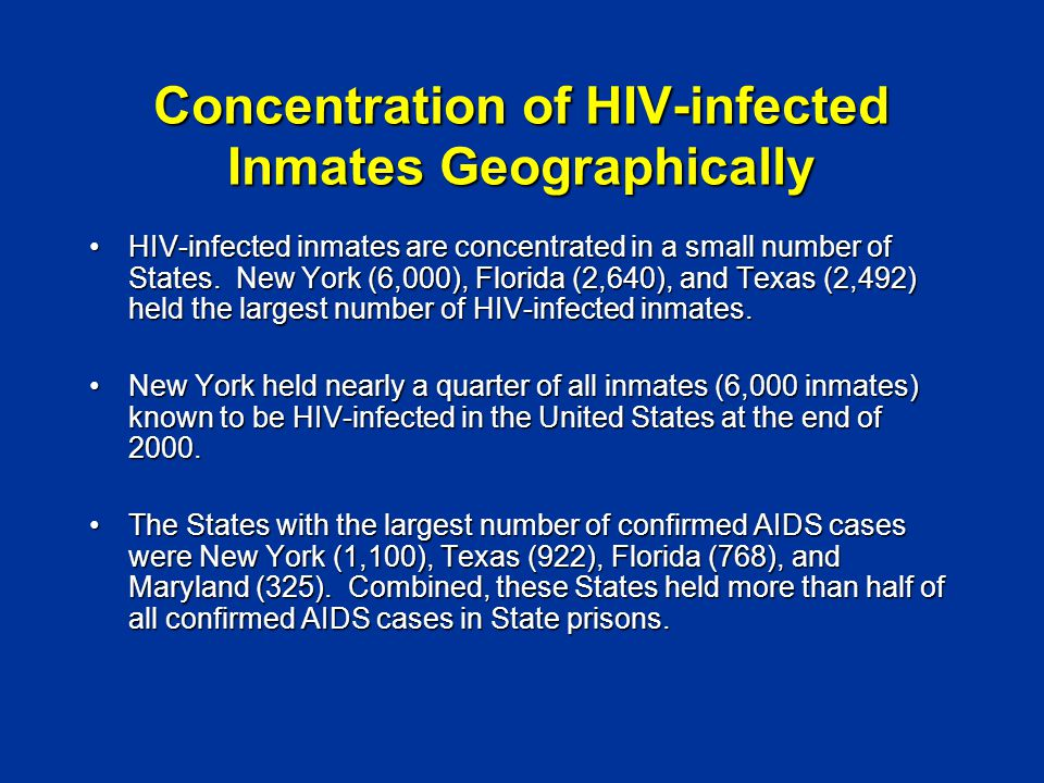 Concentration of HIV-infected Inmates Geographically HIV-infected inmates are concentrated in a small number of States.
