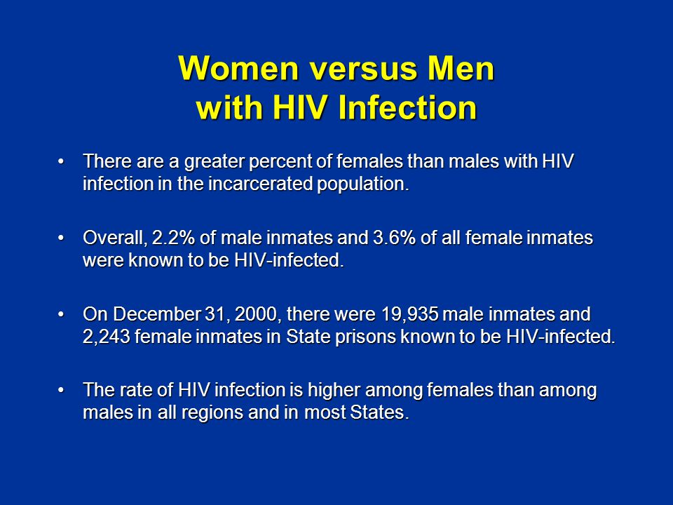 Women versus Men with HIV Infection There are a greater percent of females than males with HIV infection in the incarcerated population.There are a greater percent of females than males with HIV infection in the incarcerated population.