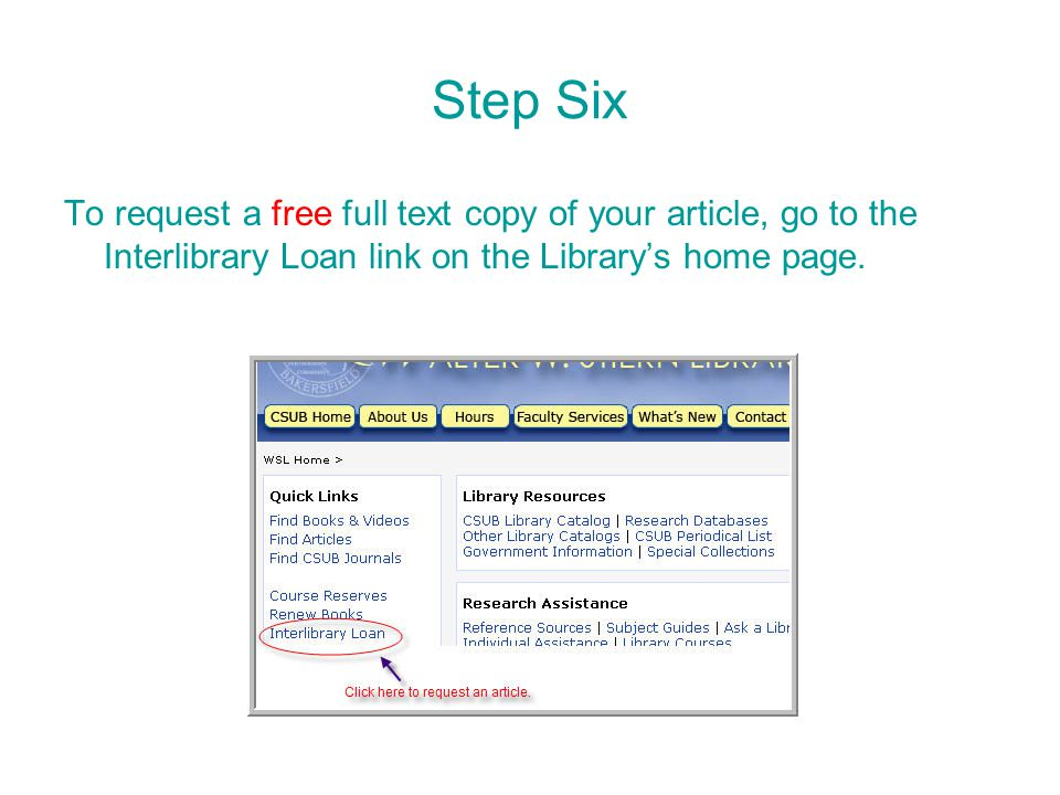 To request a free full text copy of your article, go to the Interlibrary Loan link on the Library's home page.
