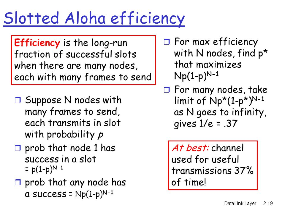 DataLink Layer2-19 Slotted Aloha efficiency r Suppose N nodes with many frames to send, each transmits in slot with probability p r prob that node 1 has success in a slot = p(1-p) N-1 r prob that any node has a success = Np(1-p) N-1 r For max efficiency with N nodes, find p* that maximizes Np(1-p) N-1 r For many nodes, take limit of Np*(1-p*) N-1 as N goes to infinity, gives 1/e =.37 Efficiency is the long-run fraction of successful slots when there are many nodes, each with many frames to send At best: channel used for useful transmissions 37% of time!