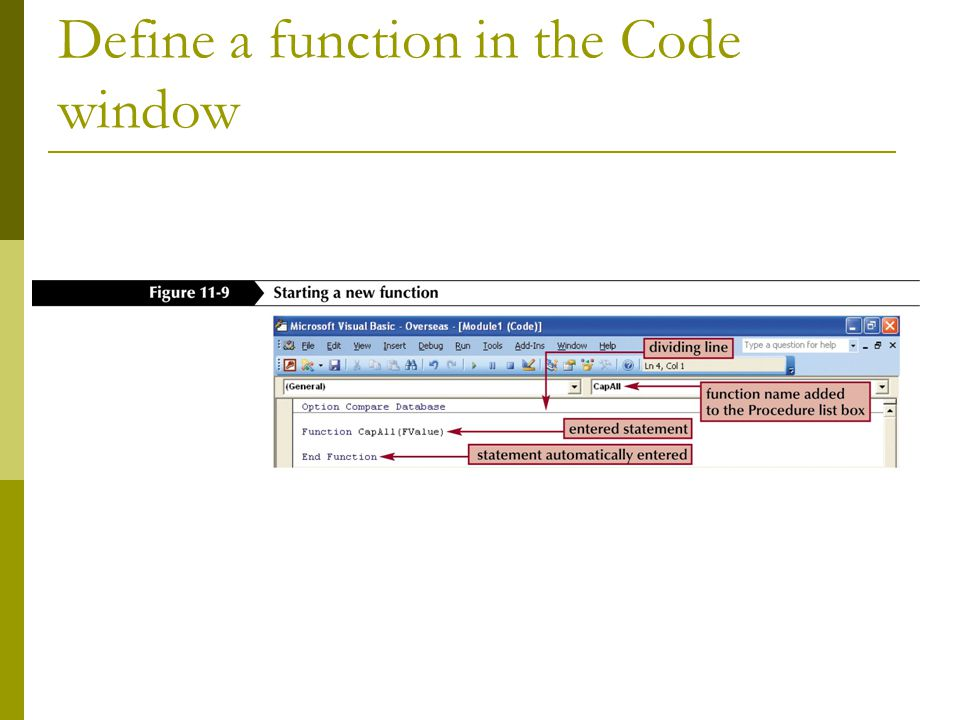 Define a function in the Code window