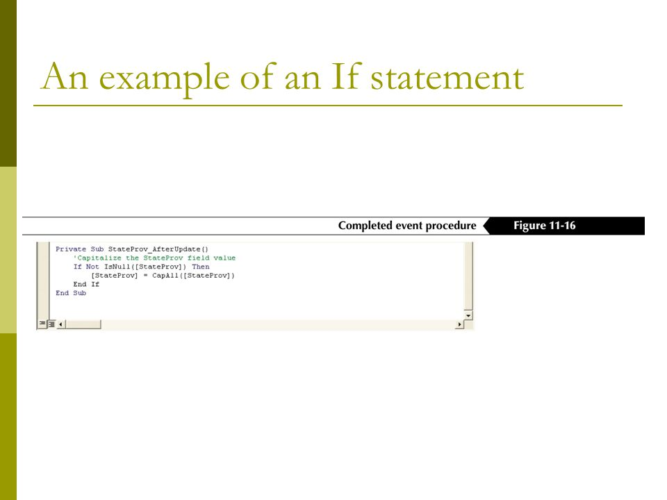 An example of an If statement