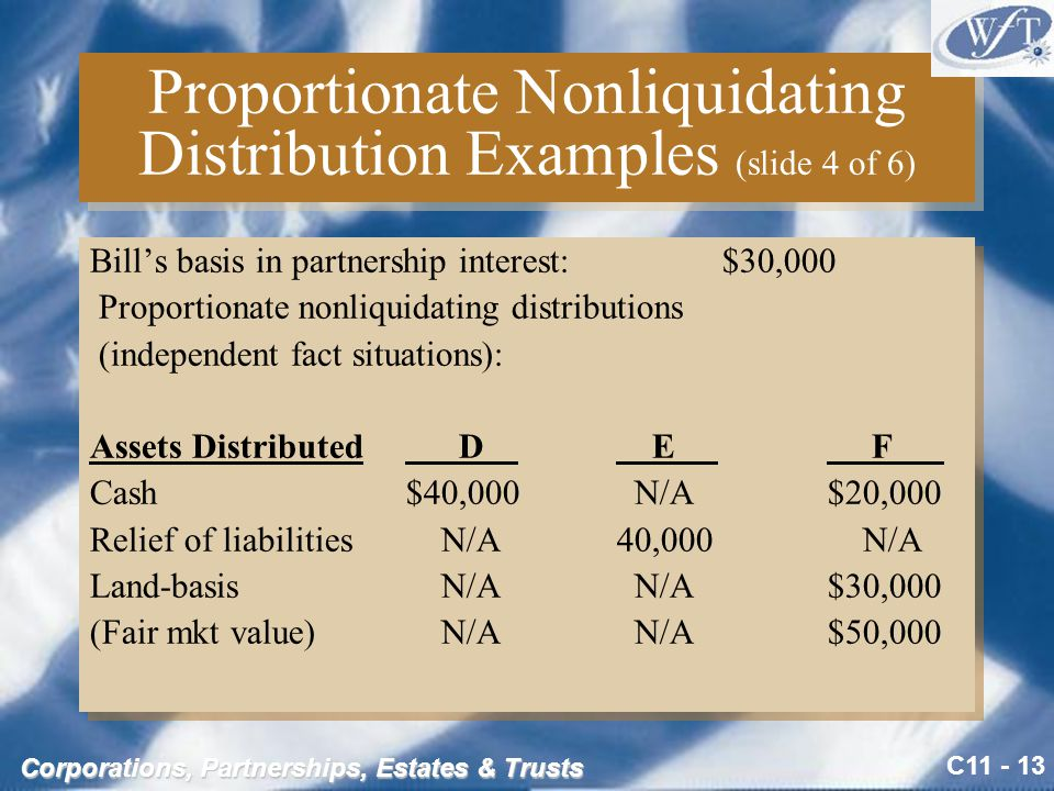 In a proportionate nonliquidating distribution of cash and a capital asset