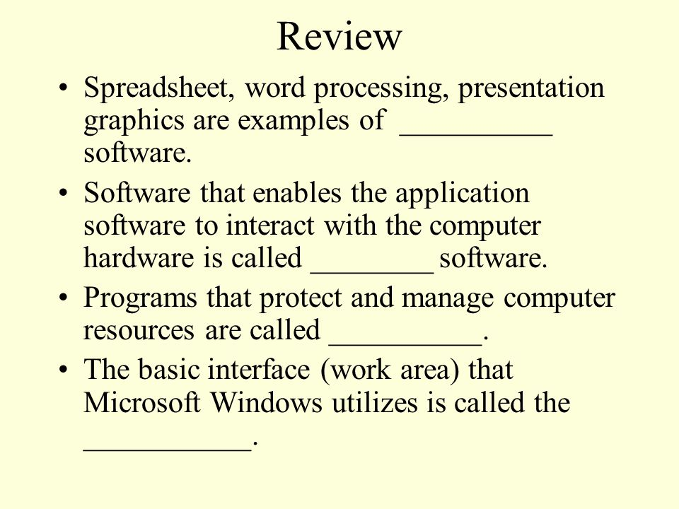 Spreadsheet, word processing, presentation graphics are examples of __________ software.