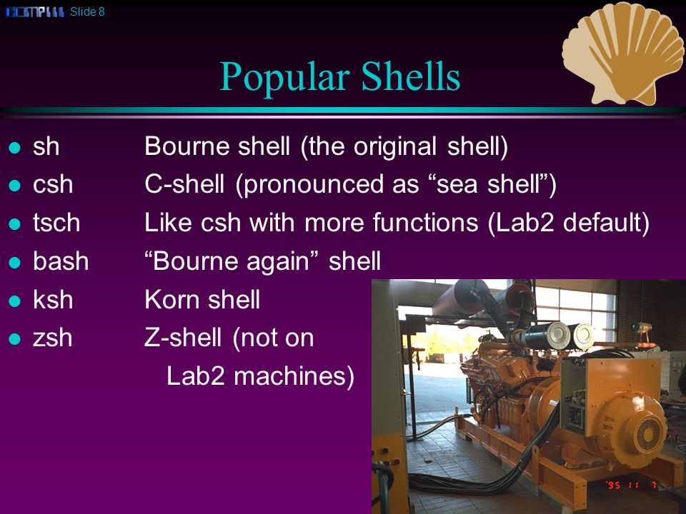 Slide 8 Popular Shells l shBourne shell (the original shell) l cshC-shell (pronounced as sea shell ) l tschLike csh with more functions (Lab2 default) l bash Bourne again shell l ksh Korn shell l zsh Z-shell (not on Lab2 machines)