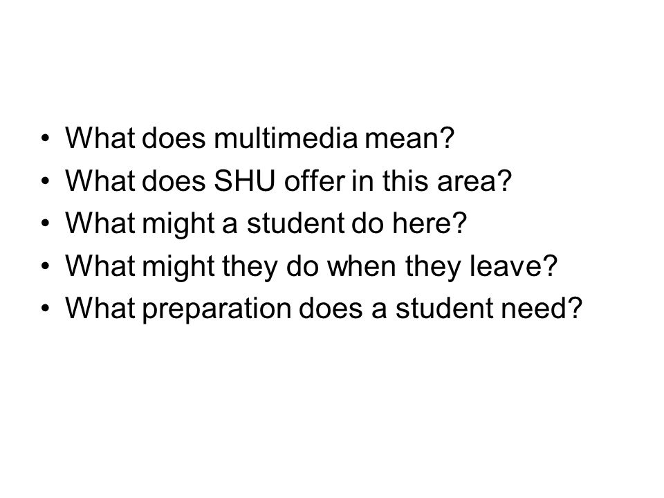 What does multimedia mean. What does SHU offer in this area.