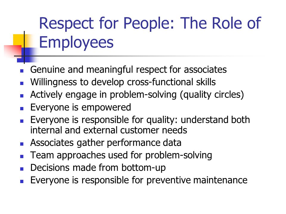Respect for People: The Role of Employees Genuine and meaningful respect for associates Willingness to develop cross-functional skills Actively engage in problem-solving (quality circles) Everyone is empowered Everyone is responsible for quality: understand both internal and external customer needs Associates gather performance data Team approaches used for problem-solving Decisions made from bottom-up Everyone is responsible for preventive maintenance