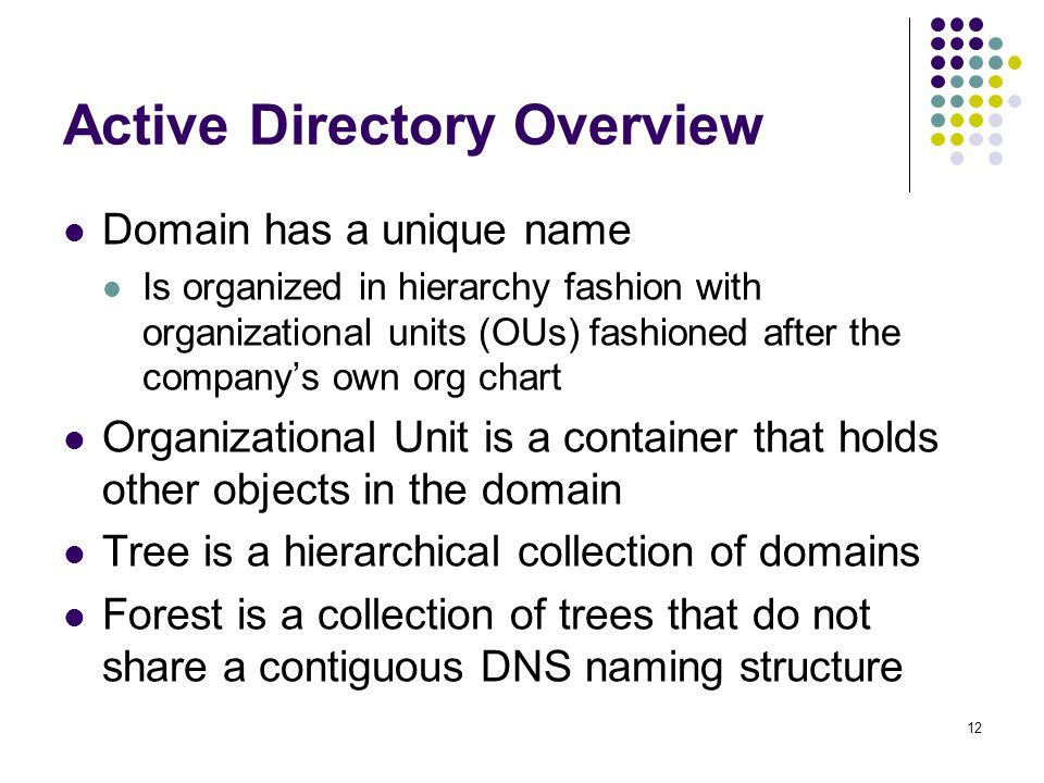 12 Active Directory Overview Domain has a unique name Is organized in hierarchy fashion with organizational units (OUs) fashioned after the company's own org chart Organizational Unit is a container that holds other objects in the domain Tree is a hierarchical collection of domains Forest is a collection of trees that do not share a contiguous DNS naming structure