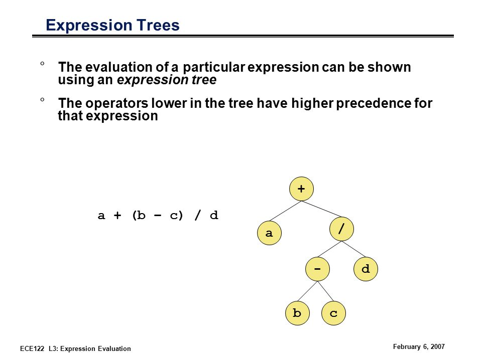 ECE122 L3: Expression Evaluation February 6, 2007 Expression Trees °The evaluation of a particular expression can be shown using an expression tree °The operators lower in the tree have higher precedence for that expression a + (b – c) / d a + / -d bc