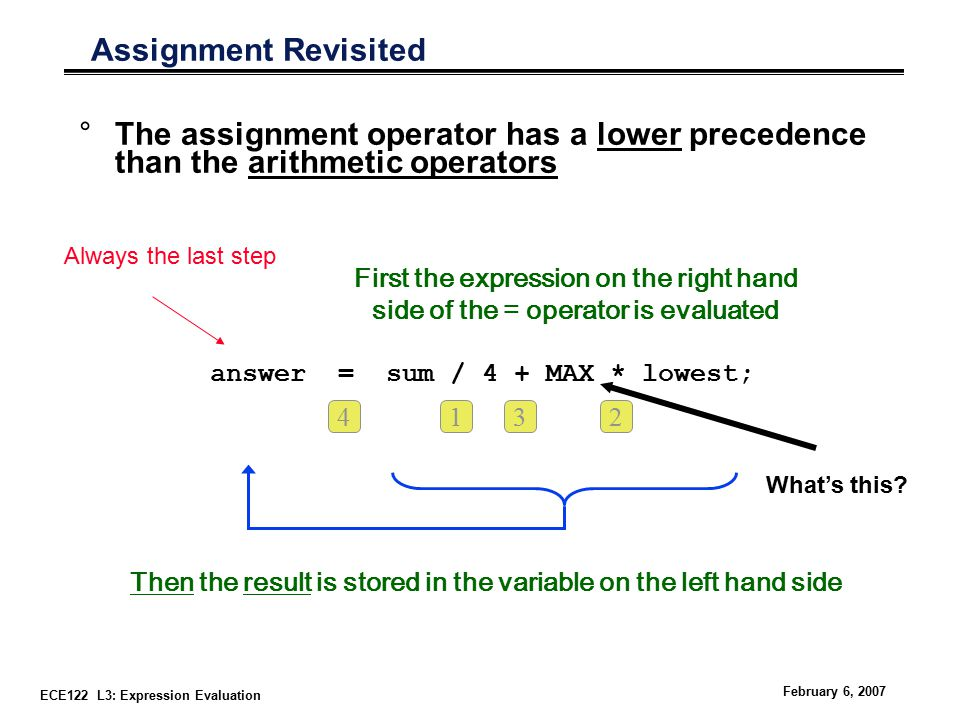 ECE122 L3: Expression Evaluation February 6, 2007 Assignment Revisited °The assignment operator has a lower precedence than the arithmetic operators First the expression on the right hand side of the = operator is evaluated Then the result is stored in the variable on the left hand side answer = sum / 4 + MAX * lowest; 1432 What's this.
