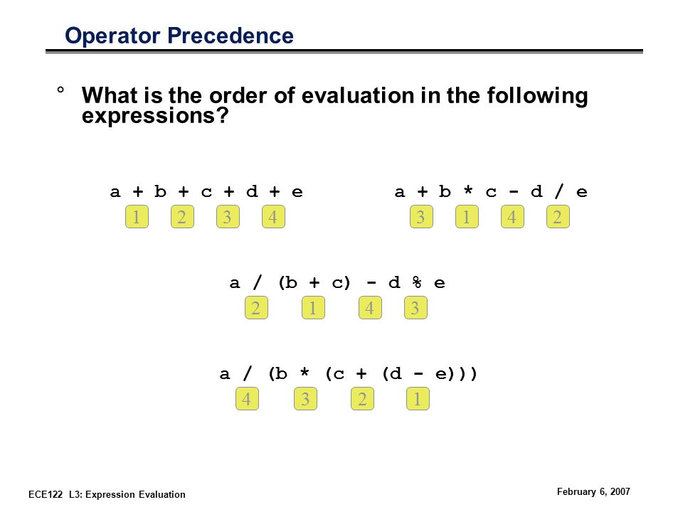 ECE122 L3: Expression Evaluation February 6, 2007 Operator Precedence °What is the order of evaluation in the following expressions.