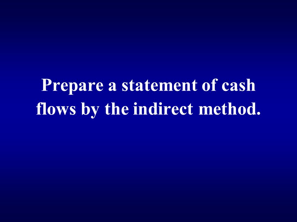 Prepare a statement of cash flows by the indirect method.