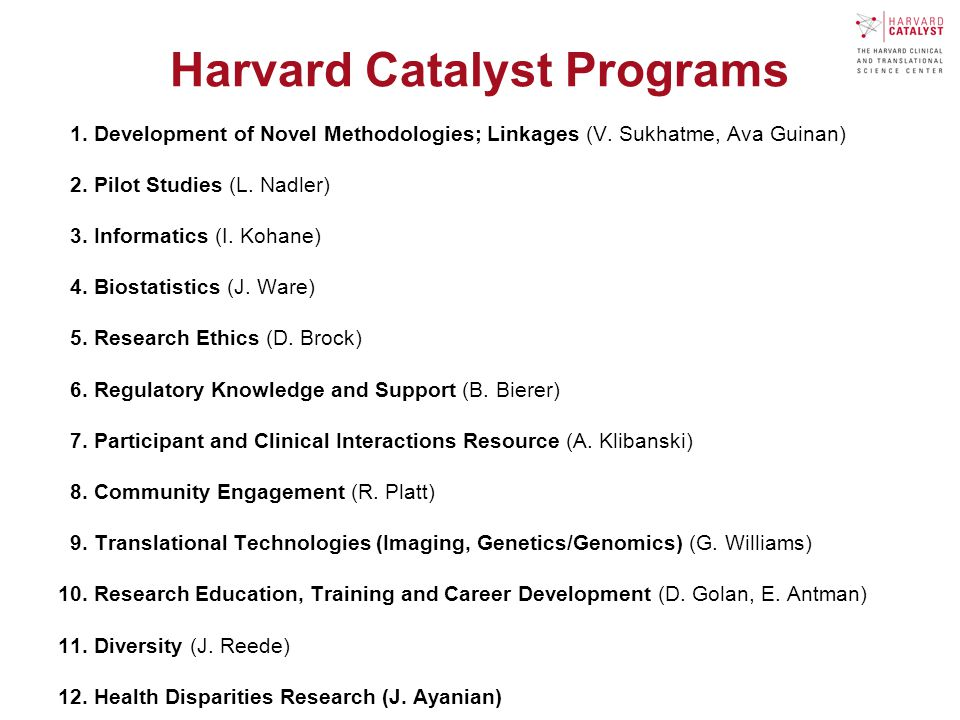 Harvard Catalyst Programs 1. Development of Novel Methodologies; Linkages (V.