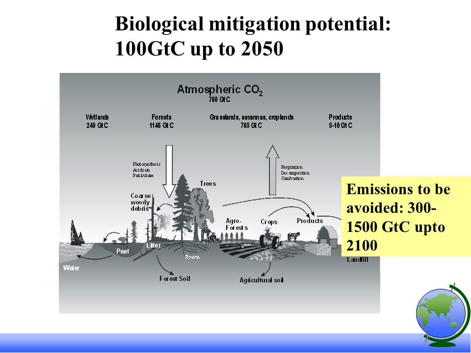 Biological mitigation potential: 100GtC up to 2050 Emissions to be avoided: GtC upto 2100