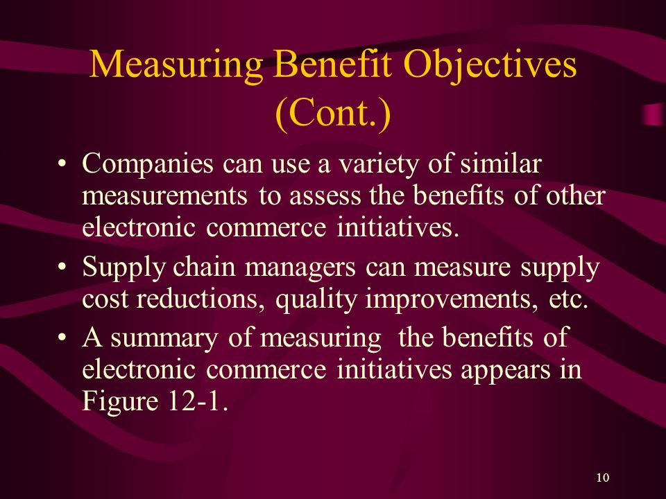 10 Measuring Benefit Objectives (Cont.) Companies can use a variety of similar measurements to assess the benefits of other electronic commerce initiatives.