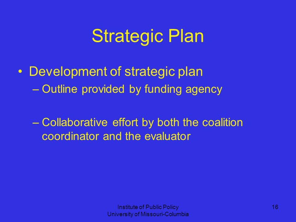 Institute of Public Policy University of Missouri-Columbia 16 Strategic Plan Development of strategic plan –Outline provided by funding agency –Collaborative effort by both the coalition coordinator and the evaluator