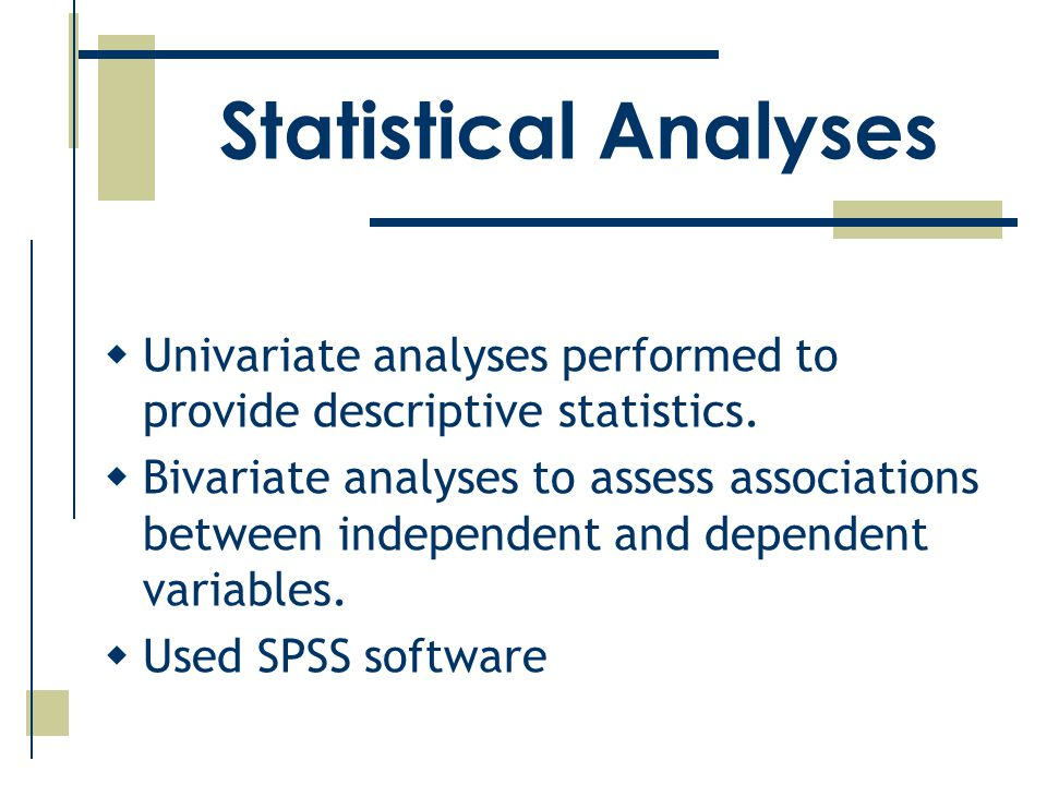 Statistical Analyses  Univariate analyses performed to provide descriptive statistics.