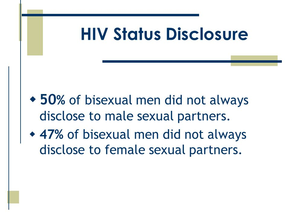 HIV Status Disclosure  50 % of bisexual men did not always disclose to male sexual partners.