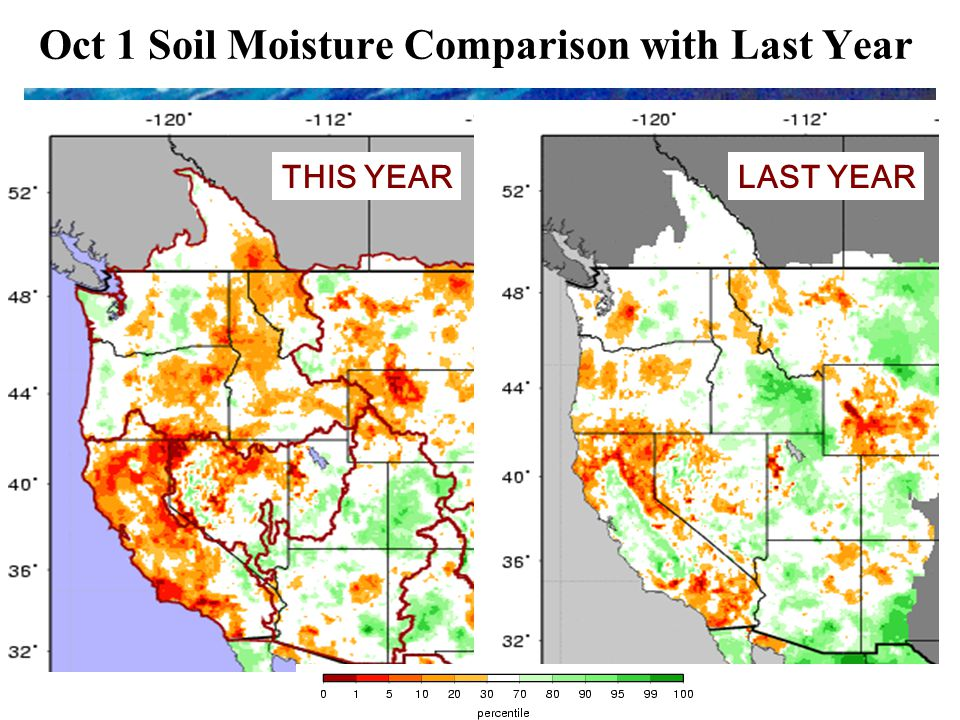 Oct 1 Soil Moisture Comparison with Last Year THIS YEARLAST YEAR