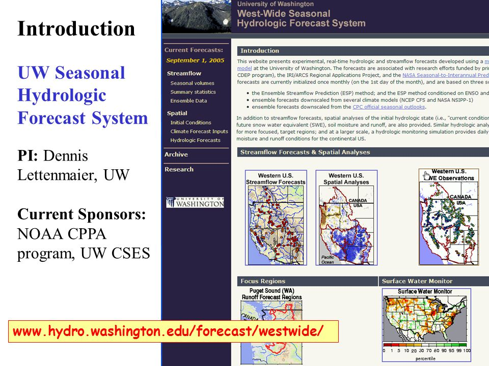 Introduction UW Seasonal Hydrologic Forecast System   PI: Dennis Lettenmaier, UW Current Sponsors: NOAA CPPA program, UW CSES