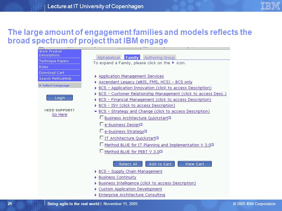 Lecture at IT University of Copenhagen Being agile in the real world | November 11, 2005 © 2005 IBM Corporation 29 The large amount of engagement families and models reflects the broad spectrum of project that IBM engage