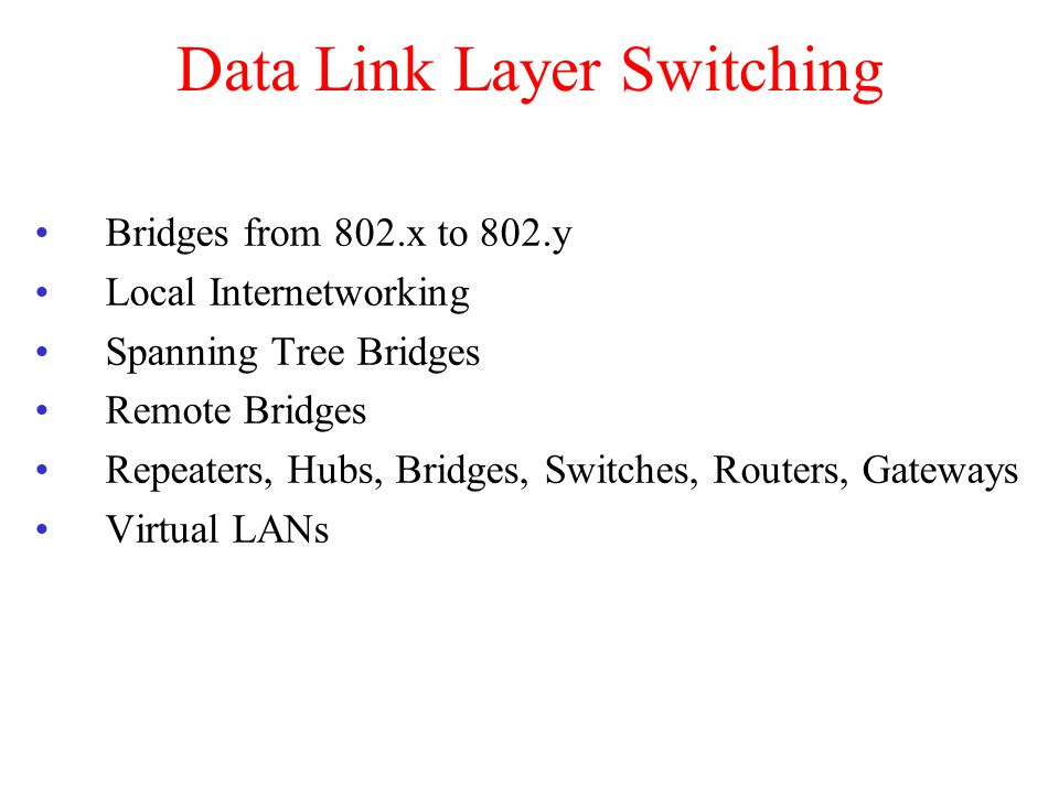 Data Link Layer Switching Bridges from 802.x to 802.y Local Internetworking Spanning Tree Bridges Remote Bridges Repeaters, Hubs, Bridges, Switches, Routers, Gateways Virtual LANs