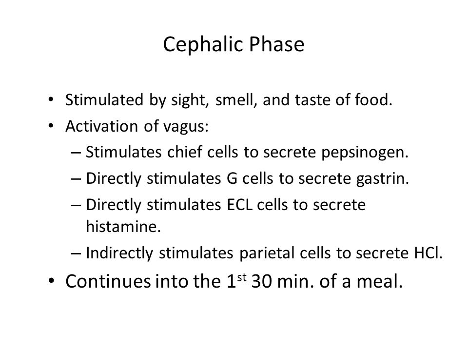 Cephalic Phase Stimulated by sight, smell, and taste of food.