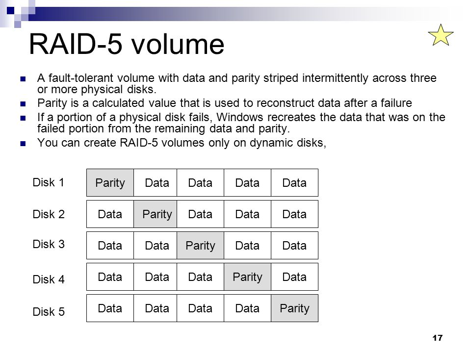 17 RAID-5 volume A fault-tolerant volume with data and parity striped intermittently across three or more physical disks.