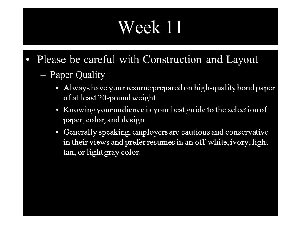 Week 11 Two Approaches To Writing Your Resume Method 1 Fairly