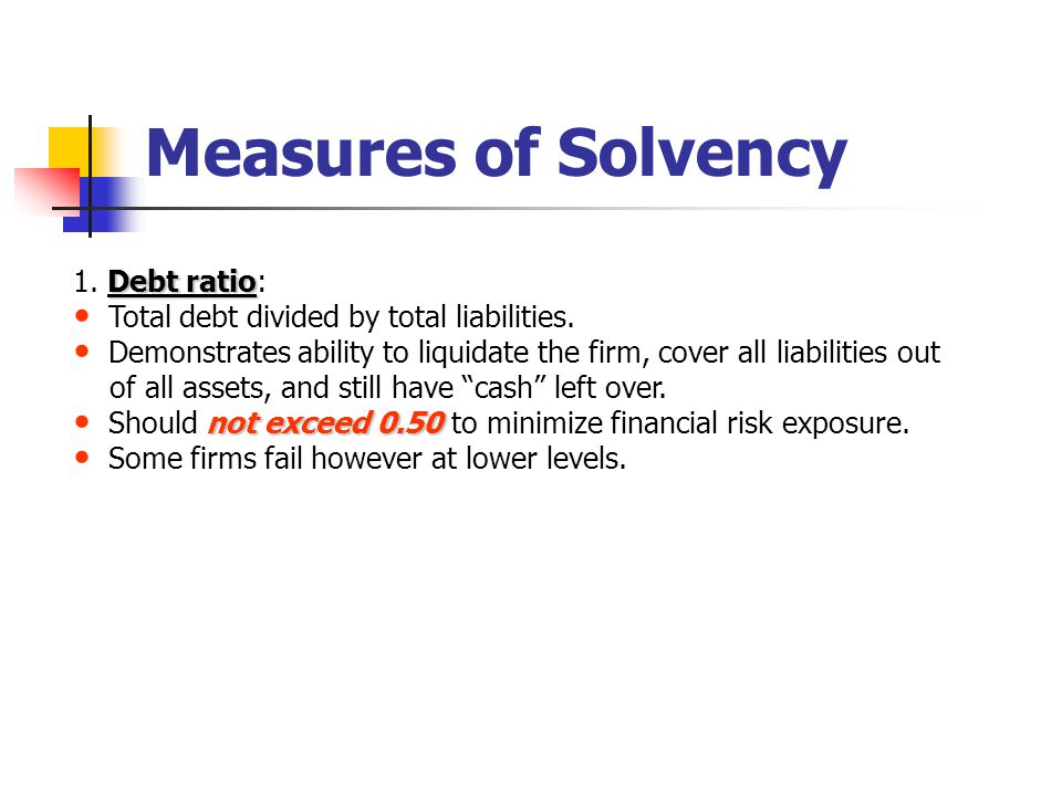 Measures of Solvency Debt ratio 1. Debt ratio: Total debt divided by total liabilities.