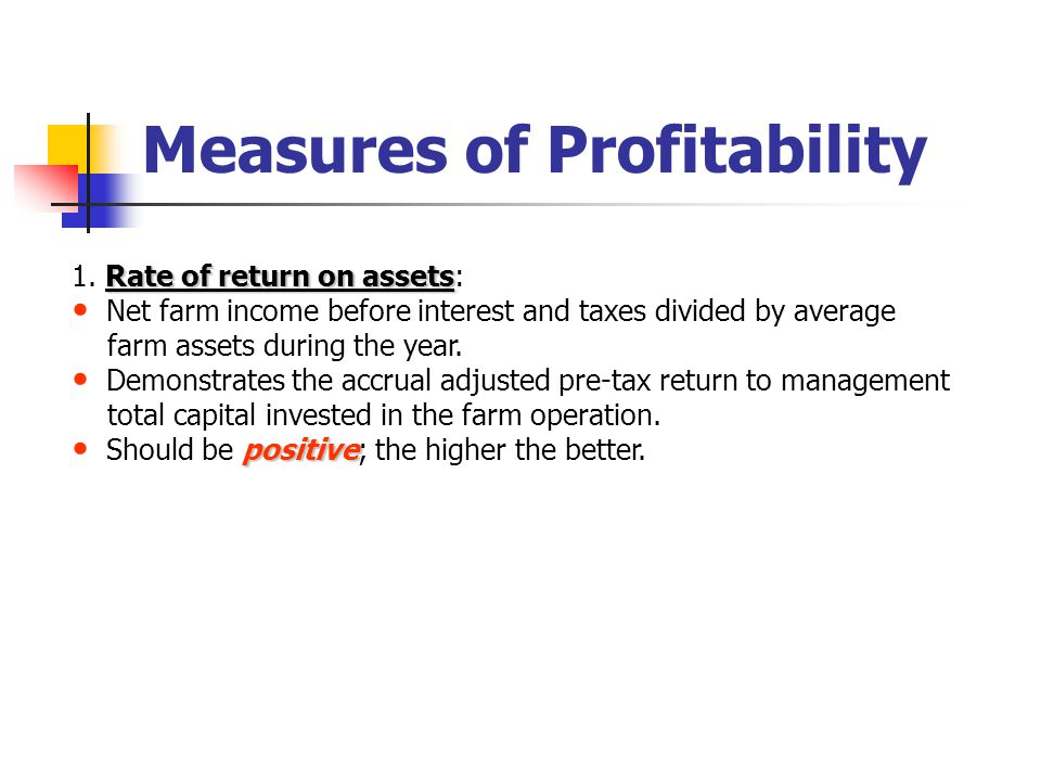 Measures of Profitability Rate of return on assets 1.