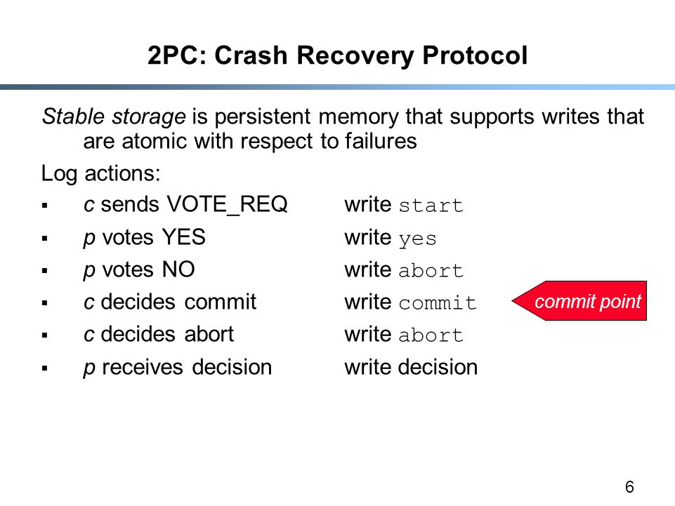 6 2PC: Crash Recovery Protocol Stable storage is persistent memory that supports writes that are atomic with respect to failures Log actions:  c sends VOTE_REQwrite start  p votes YESwrite yes  p votes NOwrite abort  c decides commitwrite commit  c decides abortwrite abort  p receives decisionwrite decision commit point