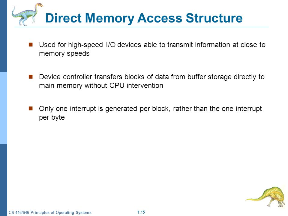 1.15 CS 446/646 Principles of Operating Systems Direct Memory Access Structure Used for high-speed I/O devices able to transmit information at close to memory speeds Device controller transfers blocks of data from buffer storage directly to main memory without CPU intervention Only one interrupt is generated per block, rather than the one interrupt per byte