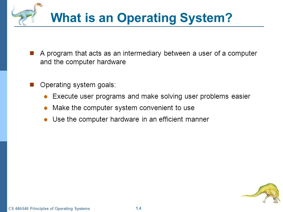 1.4 CS 446/646 Principles of Operating Systems What is an Operating System.